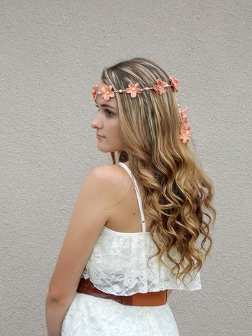 Peach,Flower,Lei,Headband,peach, flower-lei, flower-headband, flower-crown, tropical-headpiece, floral-crown, hemp, hair-jewelry, orange, hair-flowers, lei, tropical-crown