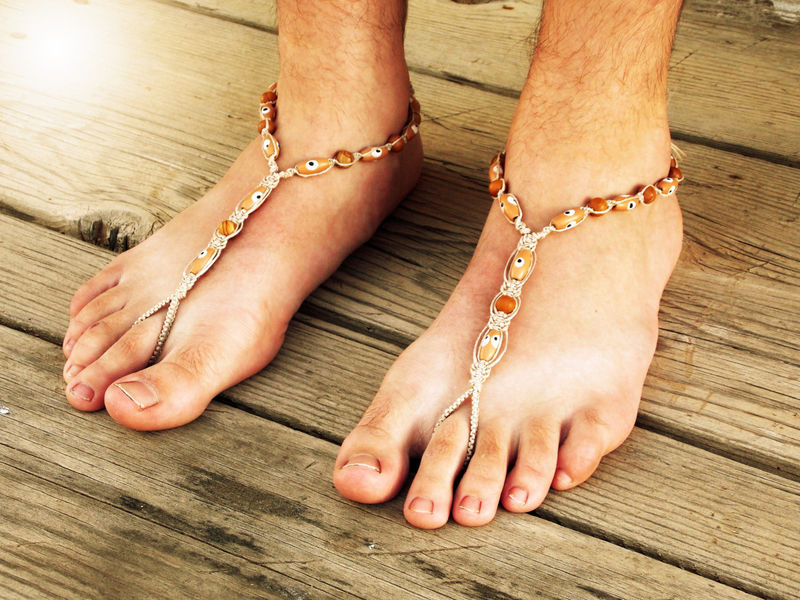 Evil Eye Men's Barefoot Sandals in Brown Jasper - product images  of