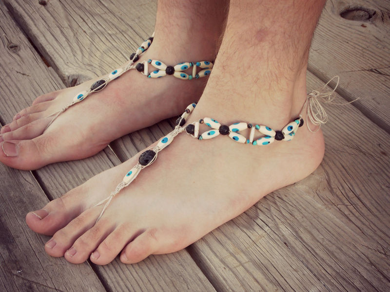 Evil Eye Barefoot Sandals in Blue - product images  of
