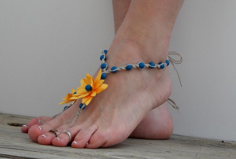 Sunflower barefoot sandals, yellow and corn flower blue - product images  of