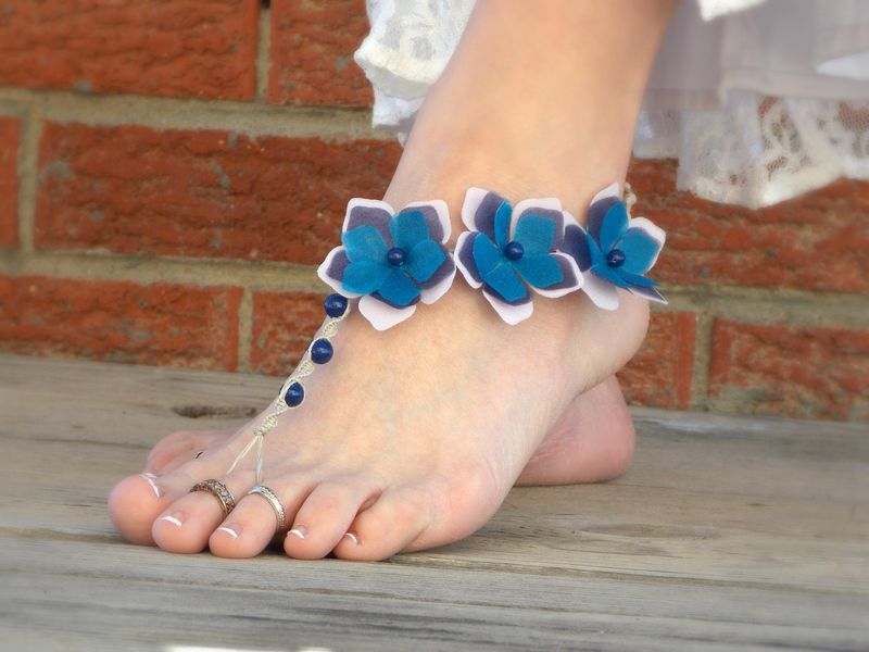 Periwinkle flower barefoot sandals in blue and purple - product images  of