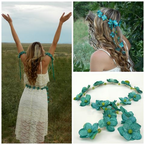 Wear,it,2,Ways!,Teal,Hydrangea,Flower,Hair,Crown,or,Belt/Sash,floral-crown, aqua-flower-crown, teal-flower-crown, teal, flower-headband, hemp, bridal-headband, flower-lei-hair, hair-flowers, flower-hair-accessory, blue, lime, aqua