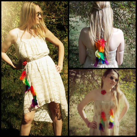 Wear,it,3,ways!,Rainbow,Feather,Body,Jewelry,-,Headband,,Belt,or,Necklace,body-chain, waste-chain, rainbow, rave-wear, rave-chain, body-jewelry, feather, feather-jewelry, hand-braided-hemp-chain, hemp, hemp-jewelry, hemp-body-jewelry