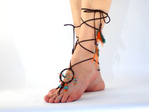 Dream,Catcher,Barefoot,Sandals,in,turquoise,and,orange,handmade-dream-catcher, 2-inch-dream-catcher, dream-catcher-barefoot-jewelry, barefoot-sandals, barefoot-jewelry, dream-catcher, native-dream-catcher