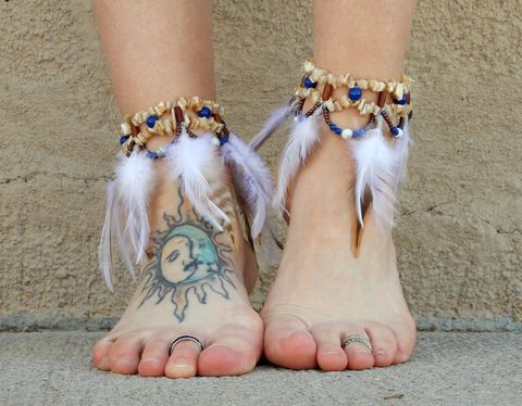 Blue,Lapis,Feather,Anklet,feather-anklet, feather-jewelry, bohemian-anklets, southwest-wedding-anklets, ankle-jewelry, blue-lapis-anklets, feather-ankle-bracelet, boot-cuff, boot-accessory, feather-boot-cuff