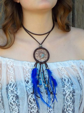 Aquamarine,Dream,Catcher,choker,necklace,dream-catcher-choker, dream-catcher-necklace, blue-dream-catcher, native-dream-catcher, dreamcatcher, leather-dream-catcher, leather-choker, aquamarine-dream-catcher