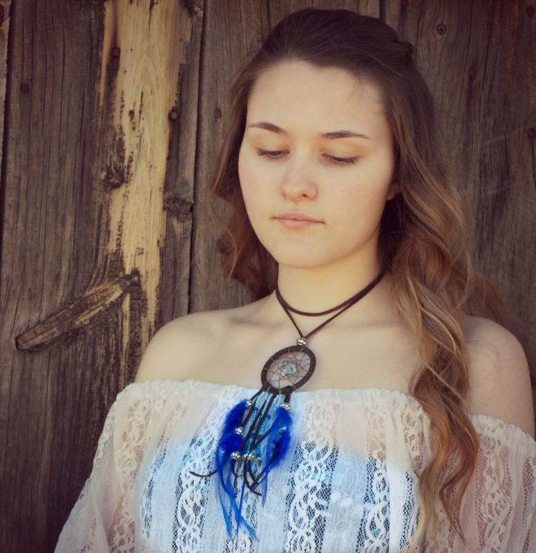 Aquamarine Dream Catcher choker necklace - product images  of