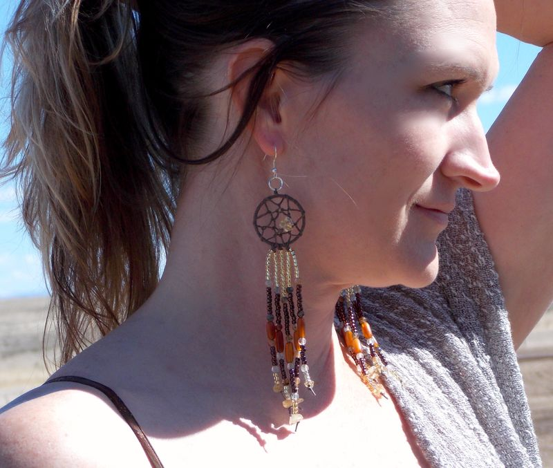 Citrine Dream Catcher Hemp Earrings - product images  of