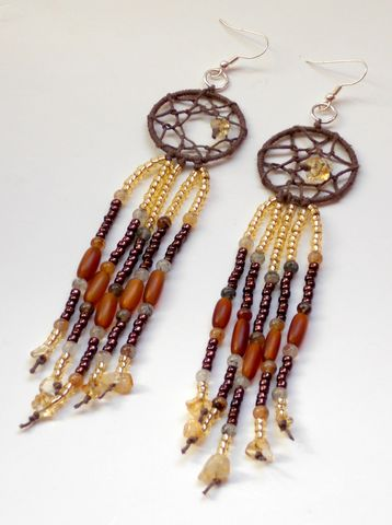 Citrine,Dream,Catcher,Hemp,Earrings,hemp-earrings, dream-catcher-earrings, citrine-earrings, dreamcatcher-earrings, long-beaded-earrings, gold-brown-earrings, chandelier-earrings, gold-dream-catcher, citrine, earrings