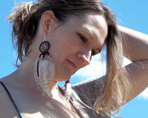Leather,dream,catcher,earrings,-,citrine,and,jasper,leather-earrings, dream-catcher-earrings, dream-catcher-jewelry, citrine-dream-catcher, bohemian-earrings, feather-earrings, native-earrings