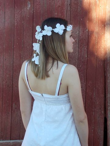 White,hydrangea,flower,headband,,hippie,wedding,halo,hippie wedding flower halo, white hydrangea flower crown, flower headband, boho wedding crown, flower veil, hair flowers, wedding flower halo, hemp headband, white flower headband
