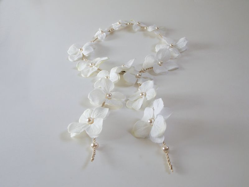 White hydrangea flower headband, hippie wedding flower halo - product images  of
