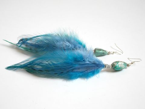 Turquoise,Feather,Earrings,turquoise-feather-earrings, feather earrings, long feather earrings, bohemian feather earrings, boho feather earrings