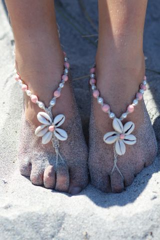 5d04a5b0b89f2 Cowrie Shell Flower Hemp Barefoot Sandals with pearl color options