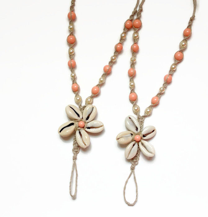 Cowrie Shell Flower Hemp Barefoot Sandals with pearl color options - product images  of