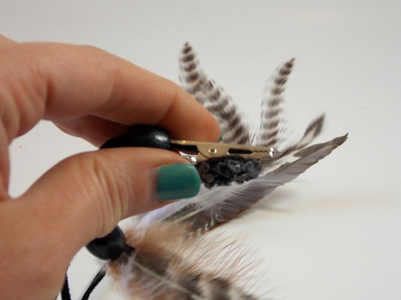 Black obsidian hair feather clip - product images  of