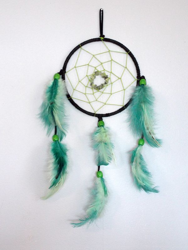 Green Prehnite dream catcher, southwest wall decor - product images  of
