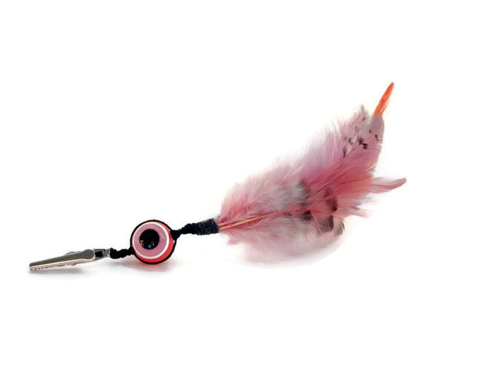 Pink evil eye feather roach clip - product images  of