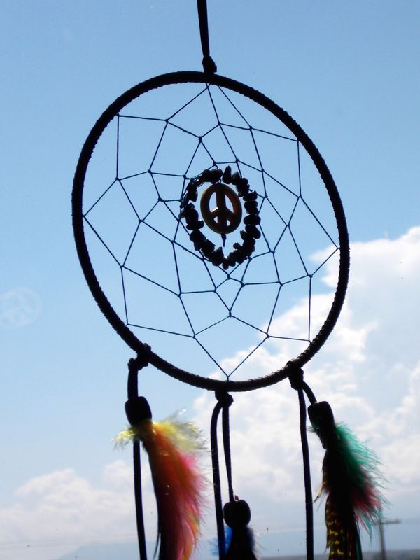 Peace sign Dream Catcher with colorful feathers - product images  of