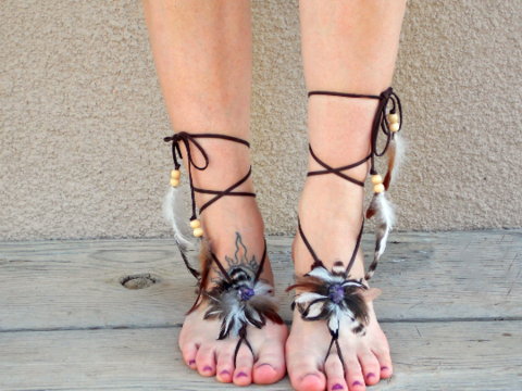 Gemstone,Feather,Barefoot,Sandals,feather-sandals, barefoot-sandals, boho-sandals, hippie-sandals, barefoot-jewelry, obsidian-barefoot-sandals, feather-sandals, leather, feathers, free-spirit, hippie-shoes, summer-sandals, yoga