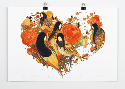 Love,Bird,Victo Ngai, limited edition giclee print, flower, women, heart, valentine, love, illustration, art print, color