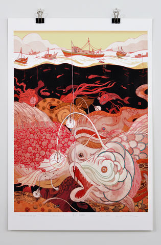 Deep,Thinker,Victo Ngai, limited edition giclee print, flower, women, city, Shanghai,prayer,pray, love,art,print, color, illustration, sun, sunshine, peace, people,big,fish,octopus,boat,red,pattern,dark,ocean, poster, hook, hidden, color