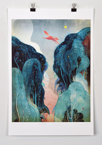 Leap,Victo Ngai, limited edition giclee print, flower, women,prayer,pray, love,art,print, color, illustration, sun, sunshine, peace, people, nature, mountain, blue, tree, trees, moon, red, fox, leap, jump, atmosphere,pink, poster
