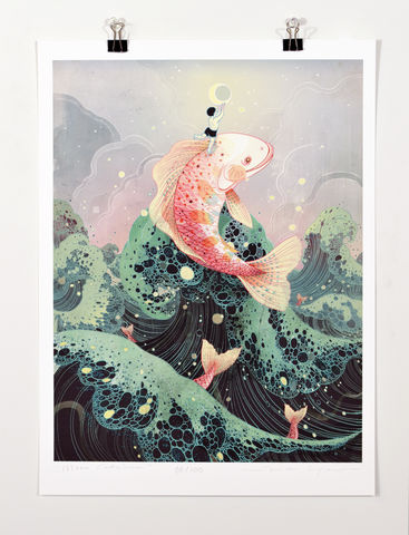 Moon,Catcher,Victo Ngai, limited edition giclee print, flower, women,woman, prayer,pray, love,art,print, color, illustration, sun, sunshine, peace, people, pedestrian, poster , wave, boy, man,catch, catcher, moon, moonlight, dark, ocean, fish, sky, pink, green