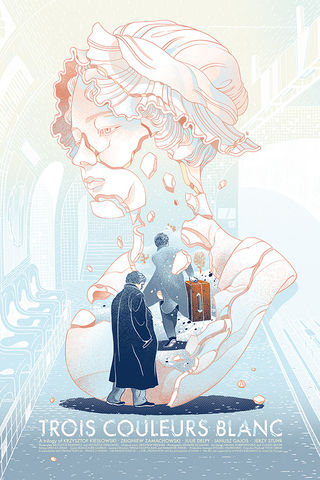 Blanc,white, blanc, blue, red, screenprint, poster, movie, Krzysztof, Kieślowski, threecolortrilogy, art, three, color, trilogy, love, beauty, victo, ngai, victongai, epic, limited, edition