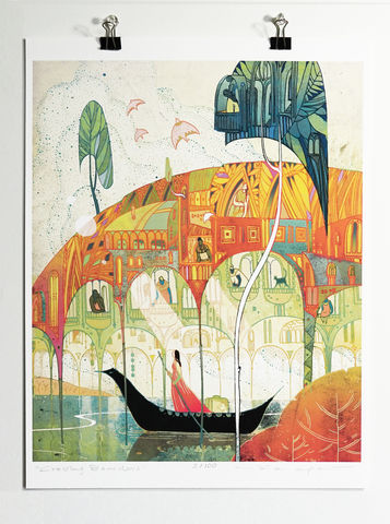 Crossing,Borders,Victo Ngai, limited edition giclee print, flower, women,woman, prayer,pray, crossing, borders, love,art,print, color, illustration, sun, sunshine, peace, people, pedestrian, poster , wave, boy, man,catch, catcher, moon, moonlight, dark, ocean, fish, sky,