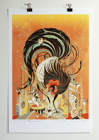 Lucky,Rooster,Victo Ngai, openedition giclee print, life of pi, tiger, boat, boy, castaway, adventure,apple, poster,chinese,new,year