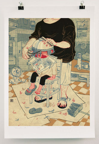 Bowlcut,Victo Ngai, limited edition giclee print, children, haircut