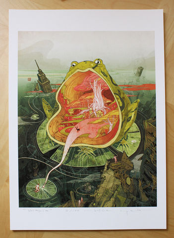 Utopia,Victo Ngai, limited edition giclee print, frog, end of world, apocalypse, ruins, building