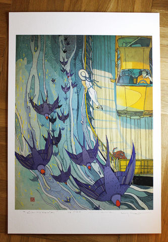 Casserole,Victo Ngai, limited edition giclee print, swallows, boat, water, car, couple, romance