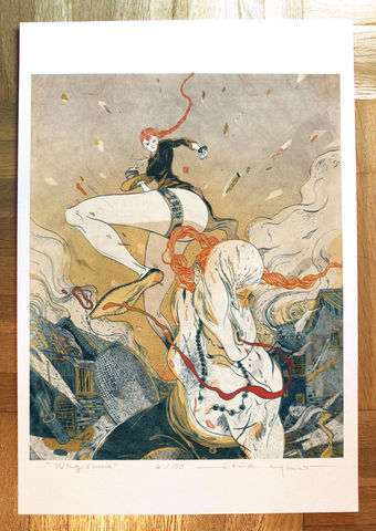 Wing,Chun,Victo Ngai, limited edition giclee print, kung fu, wing chun, fighting, fierce asian girl