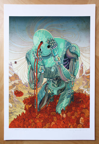 Braindrain,Victo Ngai, limited edition giclee print, robot, braindrain, sci-fi