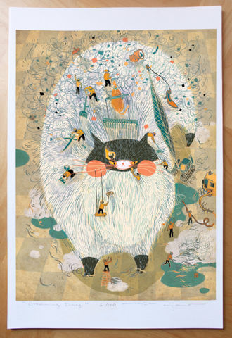 Grooming,Day,Victo Ngai, limited edition giclee print, fat cat, cat, fur, animal