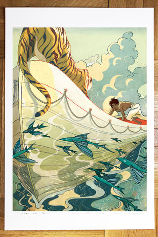 Life,of,Pi,Victo Ngai, openedition giclee print, life of pi, tiger, boat, boy, castaway, adventure
