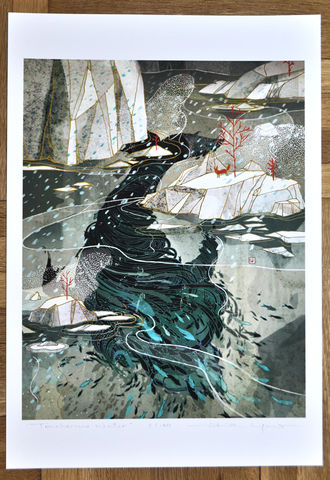 Treacherous,Water,Victo Ngai, limited edition giclee print, whale, fish, ocean, water, fox, animal, glaciers