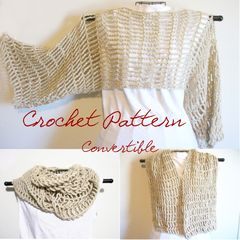 Crochet Pattern: Convertible Cropped Sweater/ Cowl/ Scarf Lace Shrug Up to 2X - product images 3 of 6