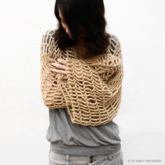 Crochet Pattern: Convertible Cropped Sweater/ Cowl/ Scarf Lace Shrug Up to 2X - product images 1 of 6