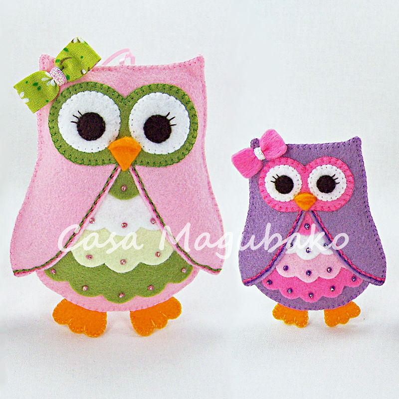 Felt Owl Ornament or Embellishment Pattern - PDF File - Owl Tutorial - Two Sizes - product images  of
