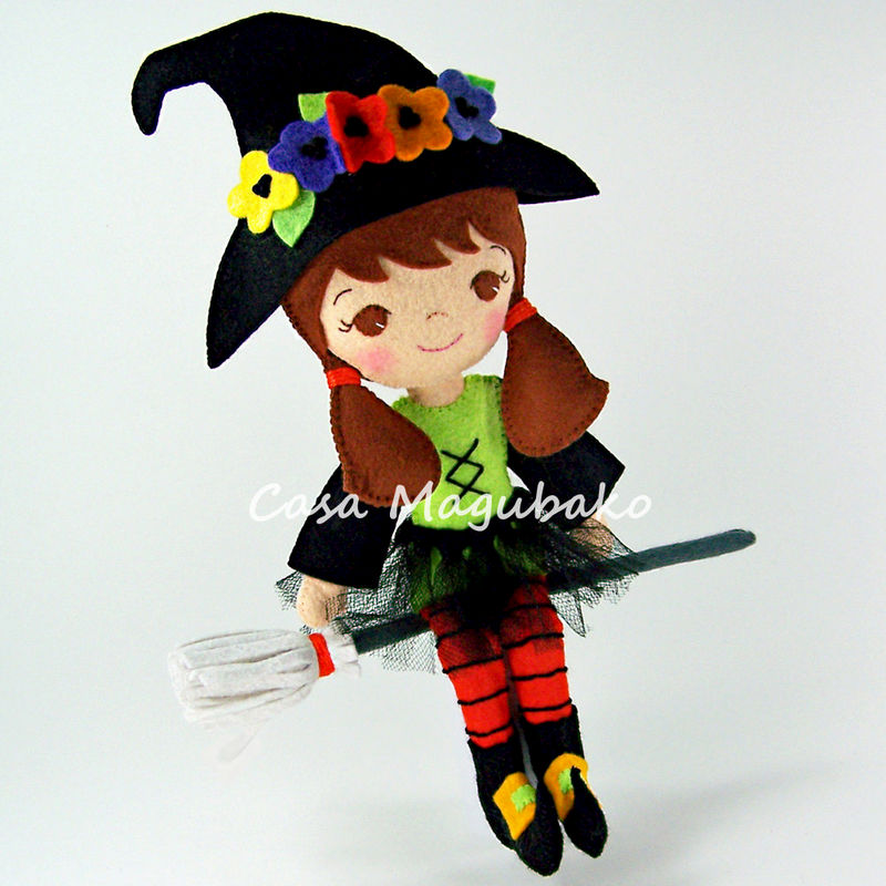 Felt Witch Doll Sewing Digital Pattern - PDF File Tutorial - DIY Bendable Doll - product images  of