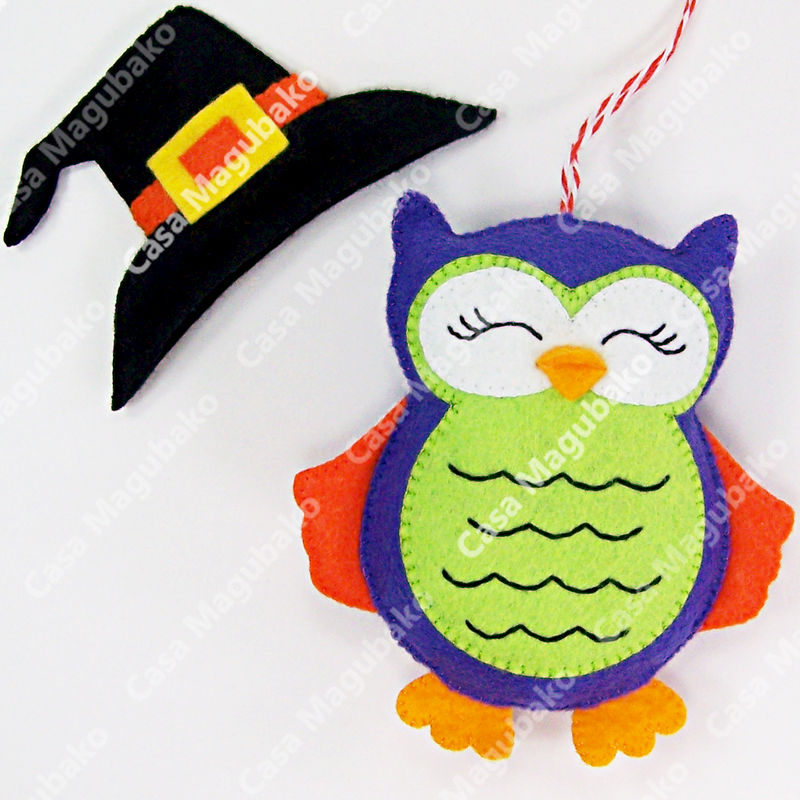 Felt Halloween Owl Ornament - Digital Sewing Pattern - DIY - PDF File Tutorial - product images  of