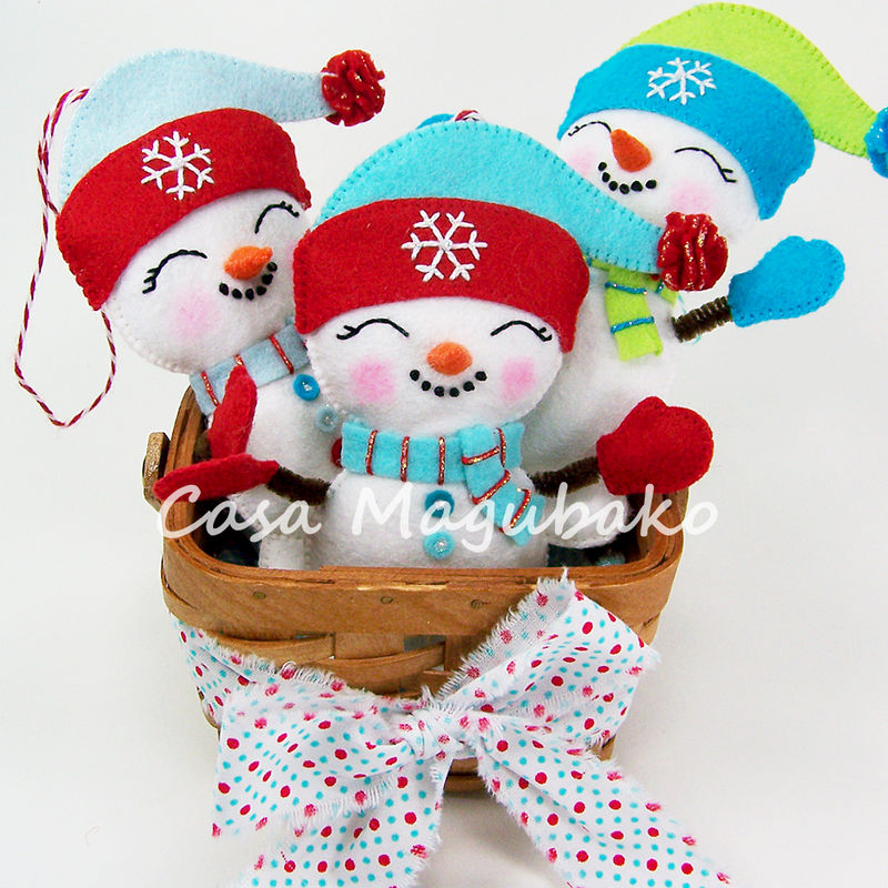 Snowman Ornament Sewing Pattern - DIY Hand Stitched Ornament - PDF File Tutorial - product images  of
