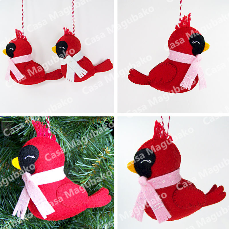 Felt Cardinal Bird Ornament - DIY Hand Stitched Christmas Ornament - Sewing Tutorial - PDF File Pattern - product images  of