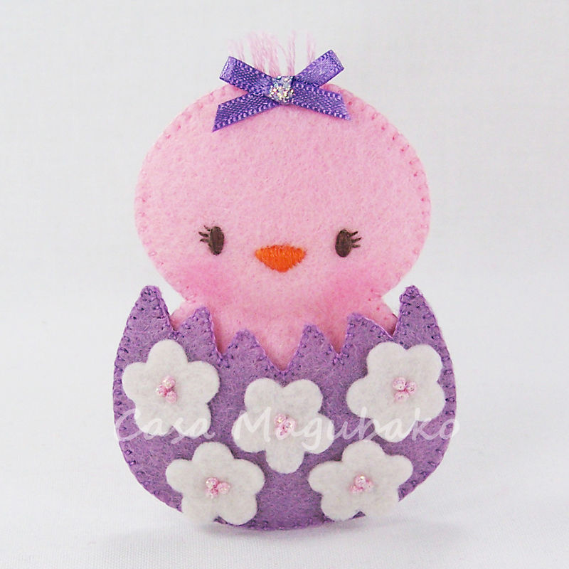 DIY Felt Chicken in an Eggshell - Digital Sewing Pattern – 3 Sizes - Embellishment, Ornament or Soft Toy - PDF File  - product images  of