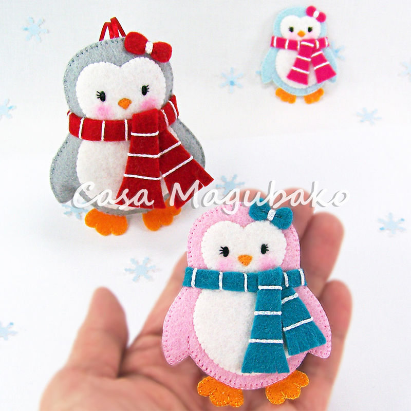 Felt Penguin Digital Pattern - PDF File - DIY Ornament or Embellishment - product images  of