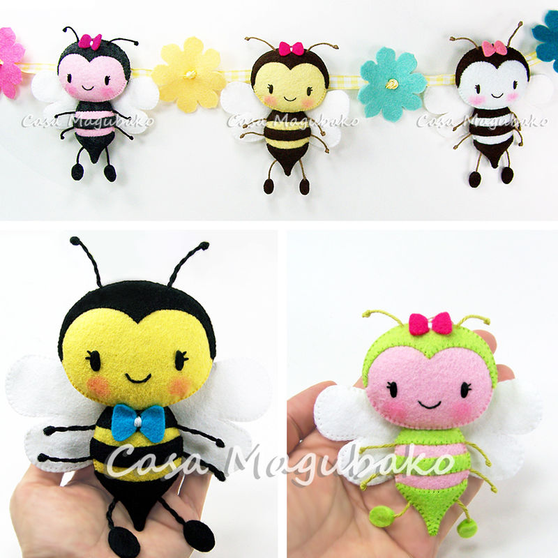 Felt Bee Digital Pattern – PDF File  - product images  of