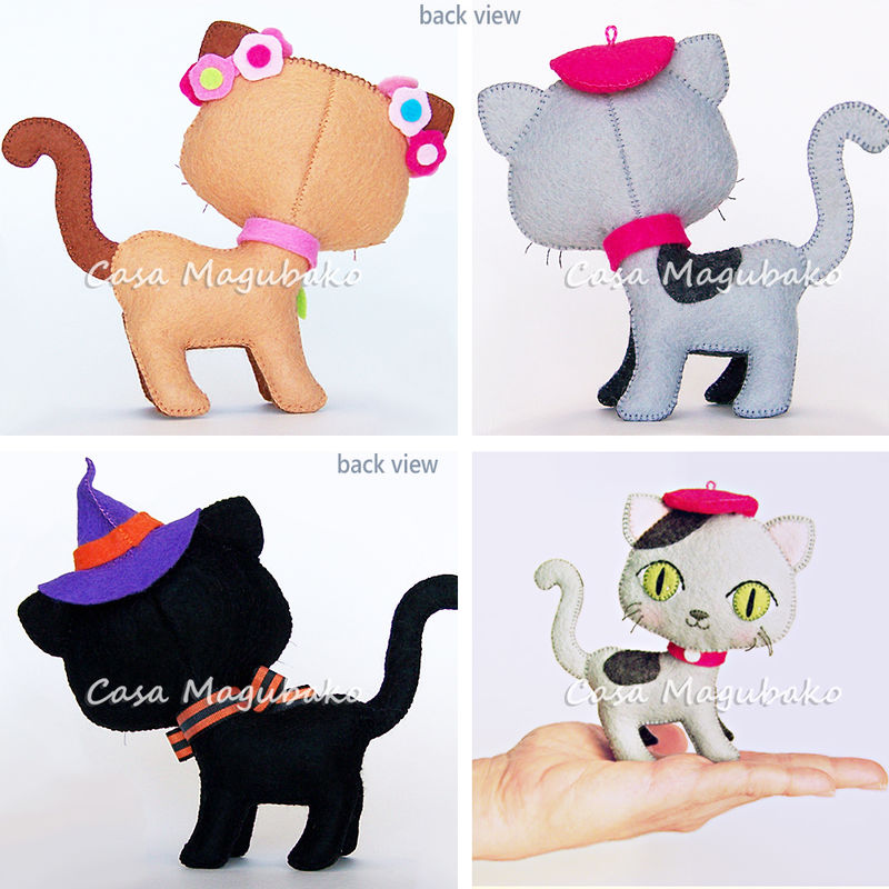 Felt Cat Digital Pattern – Hand-Stitched Cat in 3 Styles - PDF File  - product images  of